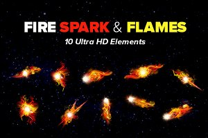 10 HD Fire Sparks, Flames & Flashes