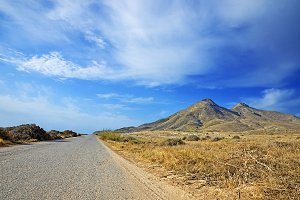 road to an ancient volcano