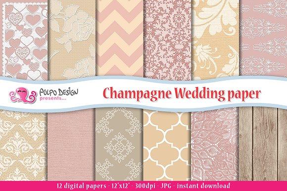 Champagne Wedding Digital Paper