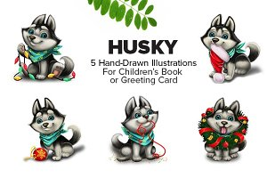 5 Cute Husky Puppy Characters
