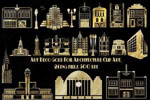 Art Deco Gold Foil Architecture