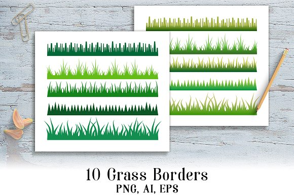 10 Grass Borders Clipart
