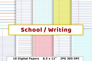 School / Writing Lined Digital Paper