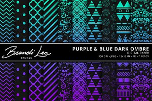 Blue & Purple Ombre Digital Paper