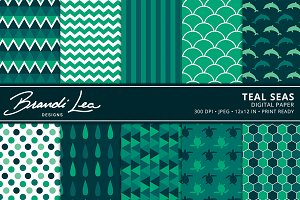 Teal Seas Digital Paper