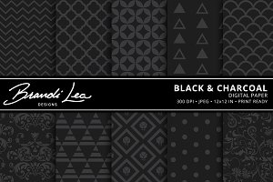 Black & Charcoal Digital Paper