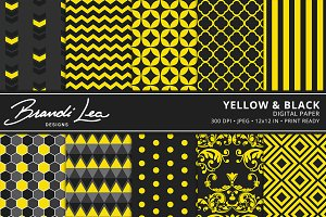 Yellow & Black Digital Paper