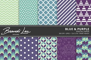 Blue & Purple Digital Paper Pack