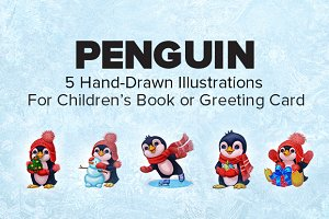 5 Cute Hand-Drawn Penguin Characters