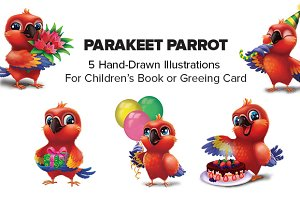 5 Hand-Drawn Happy Parrot Characters