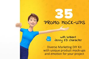 35 Jenny 3D Product Promo Mock-Ups