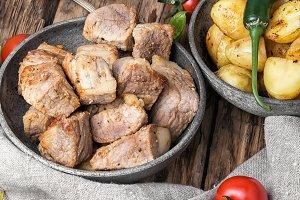 portion roast pork meat