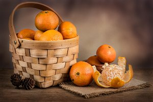 Still life with fresh mandarins