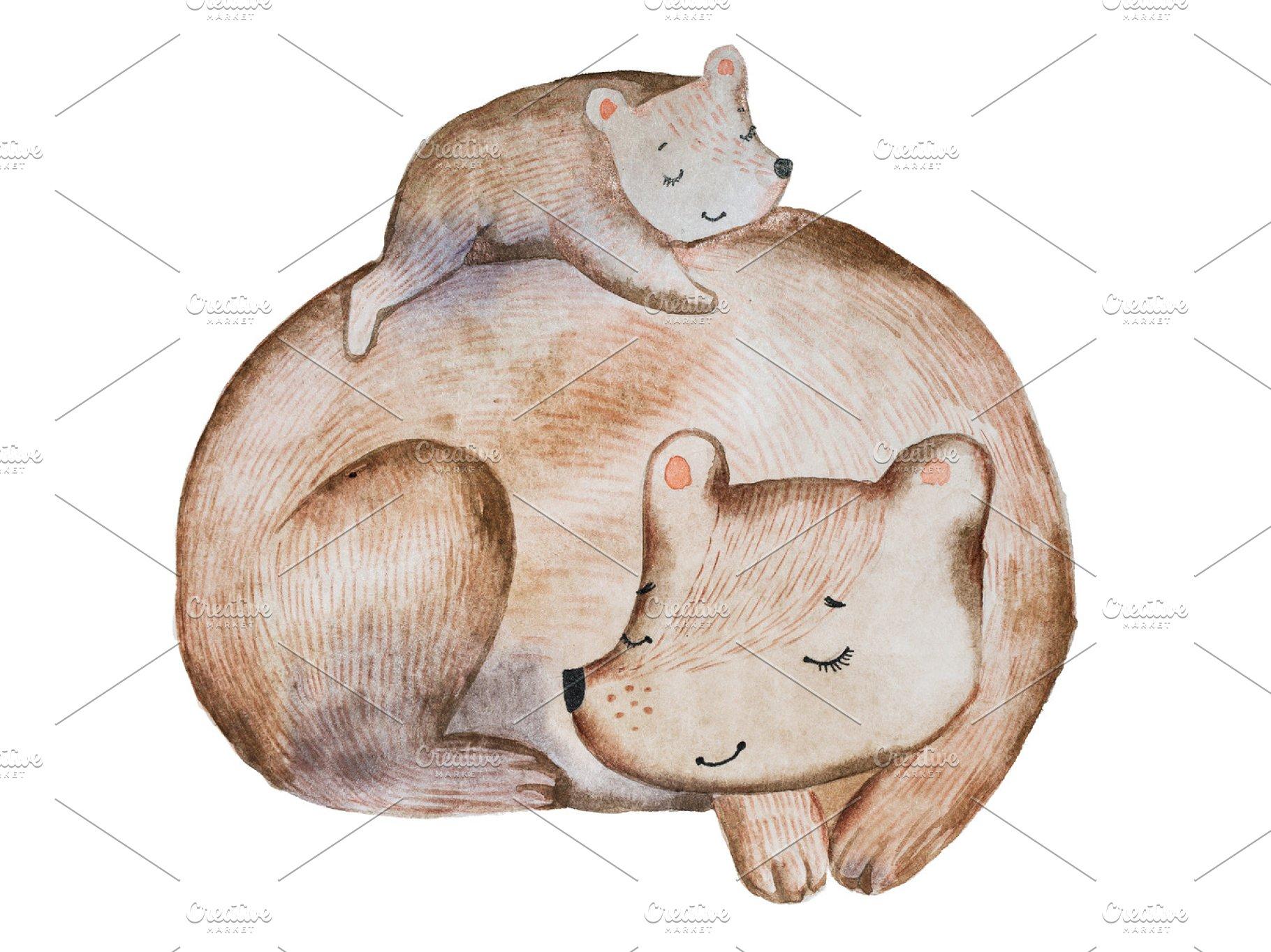 fe8edd0e863 Cute cartoon brown bear and little cub laying on its back sleeping ...