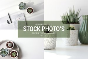 Green lifestyle stock photo mockups