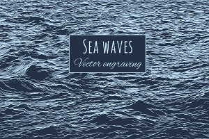 Sea waves. Vector engraving.