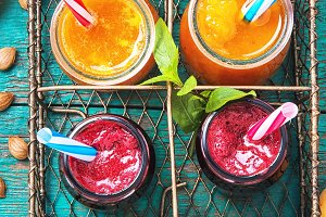 jar with apricot smoothies