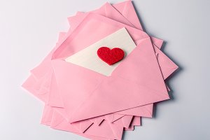pink envelopes and mail letter paper