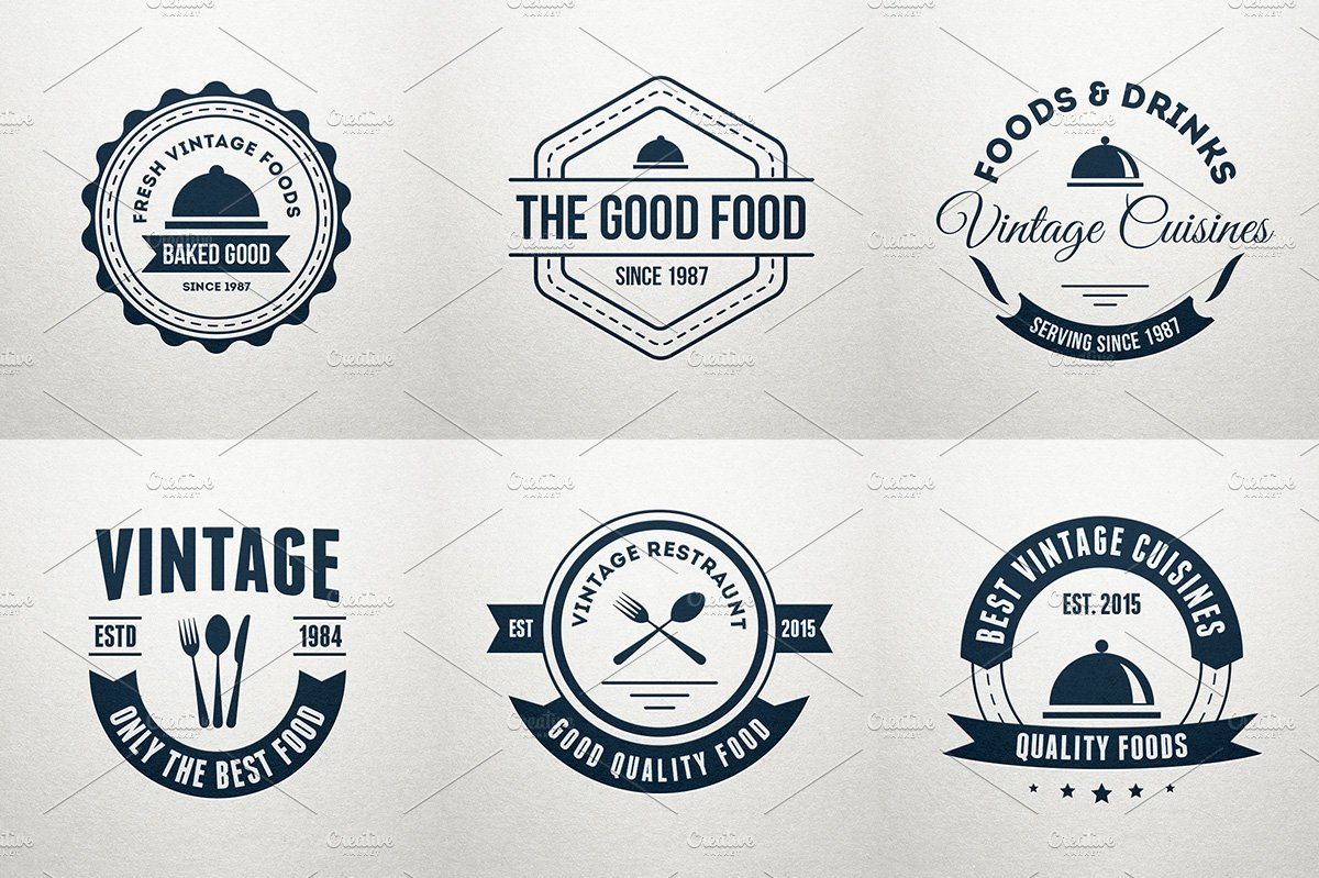 6 food logos retro badges labels logo templates creative market
