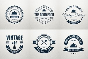 6 Food Logos, Retro Badges, Labels