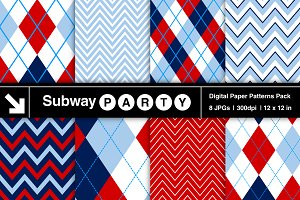 Navy, Red & Blue Argyle & Chevron