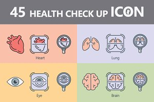 45 Line Icon Health Check up Concept