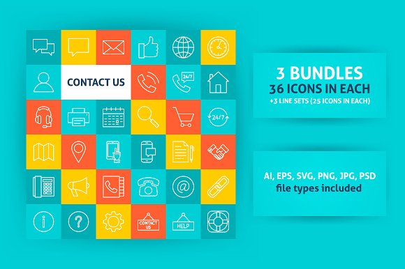 Contact Us Line Art Icons