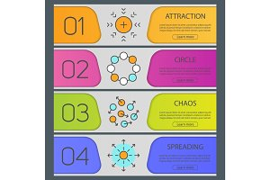 Abstract symbols banner templates set