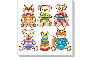 Children's toy. Cute animals. Set