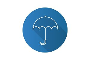 Umbrella flat linear long shadow icon