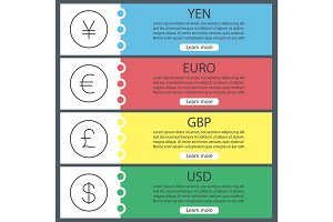 Currencies web banner templates set