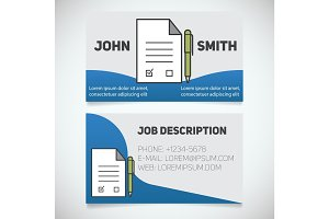 Business card print template with signed contract and pen logo