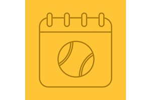 Tennis tournament date linear icon