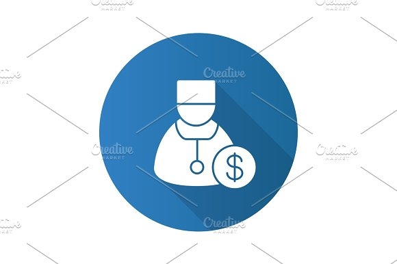 Doctor Services Flat Design Long Shadow Glyph Icon