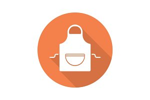 Apron flat design long shadow glyph icon