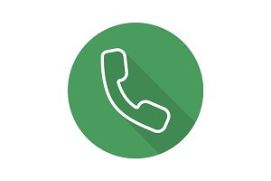 Handset flat linear long shadow icon