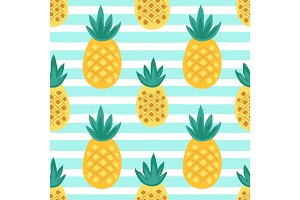 Cute seamless pattern with pineapple