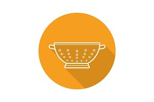 Colander flat linear long shadow icon