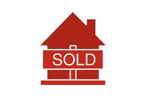 Sold house glyph color icon