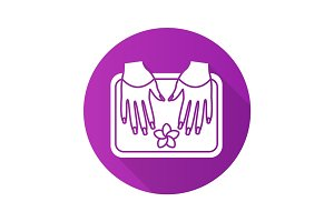 Spa salon nails bath. Flat design long shadow glyph icon