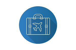 Travel luggage suitcase. Flat linear long shadow icon