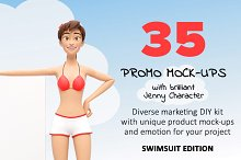 35 Promo Mock-Ups w/ Swimsuit Jenny