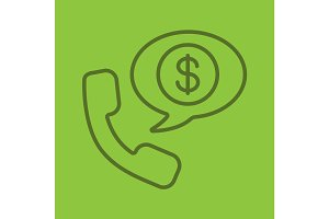 Phone talk about money linear icon