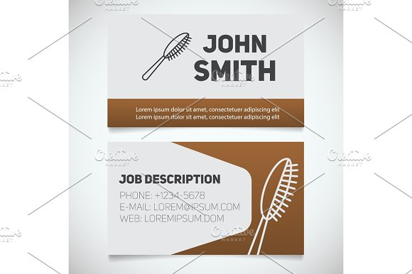Business Card Print Template With Hairbrush Logo