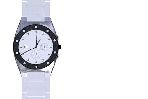 Silver luxury wrist watch isolated