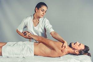 Massage stretching therapy.