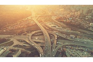 Aerial Drone Flight View of freeway heavy traffic