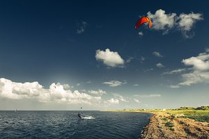 Kitesurfing Training Summer Holiday Vacation Surfing Concept