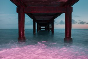 Under A Pier Bridge Summer Beach