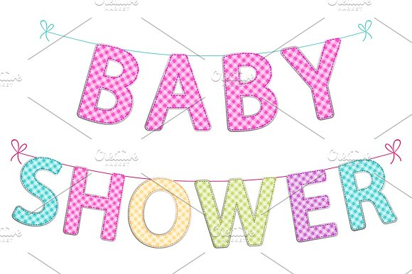 Cute Festive Garlands For Baby Shower With Gingham Letters Of Different Bright Colors